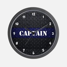 Police Captain Diamond Plate Wall Clock
