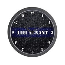 Police Lieutenant Diamond Plate Wall Clock