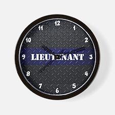Police Lieutenant Diamond Plate Wall Clock