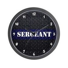 Police Sergeant Diamond Plate Wall Clock