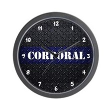 Police Corporal Diamond Plate Wall Clock