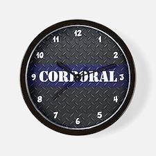 Police Corporal Diamond Plate Wall Clock