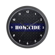 Police Homicide Diamond Plate Wall Clock