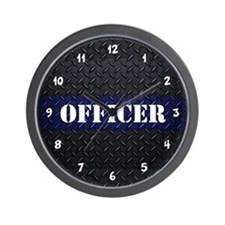 Police Officer Diamond Plate Wall Clock