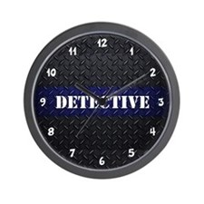 Police Detective Diamond Plate Wall Clock
