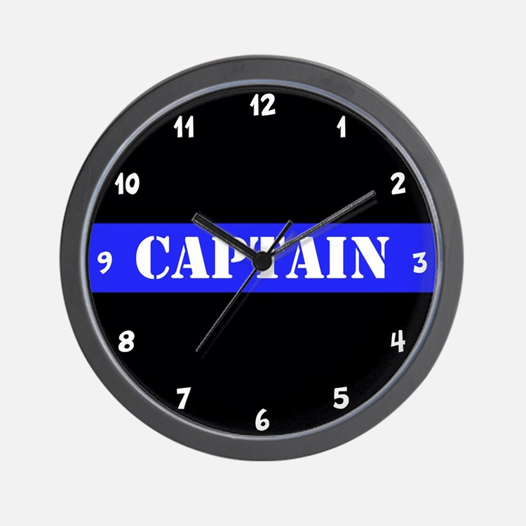 Police Captain Thin Blue Line Wall Clock
