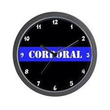 Police Corporal Thin Blue Line Wall Clock