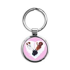 3 Dogs = Love (Pink) Round Keychain