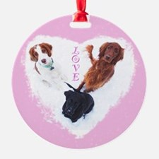 3 Dogs = Love (Pink) Ornament