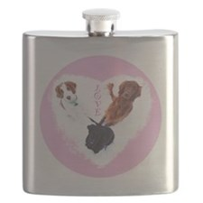3 Dogs = Love (Pink) Flask
