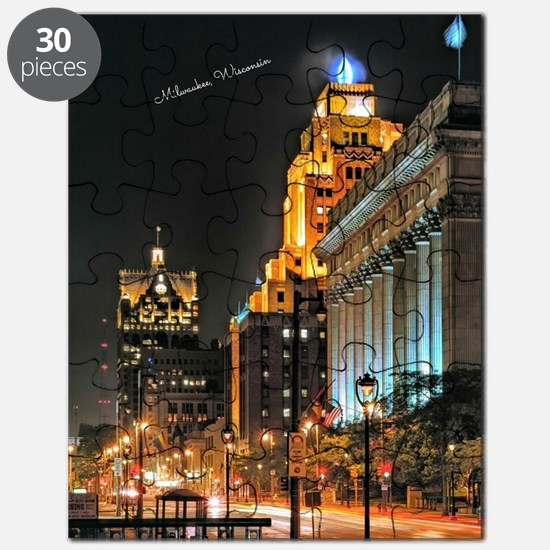 Milwaukee, Wisconsin Cityscape at Night Puzzle