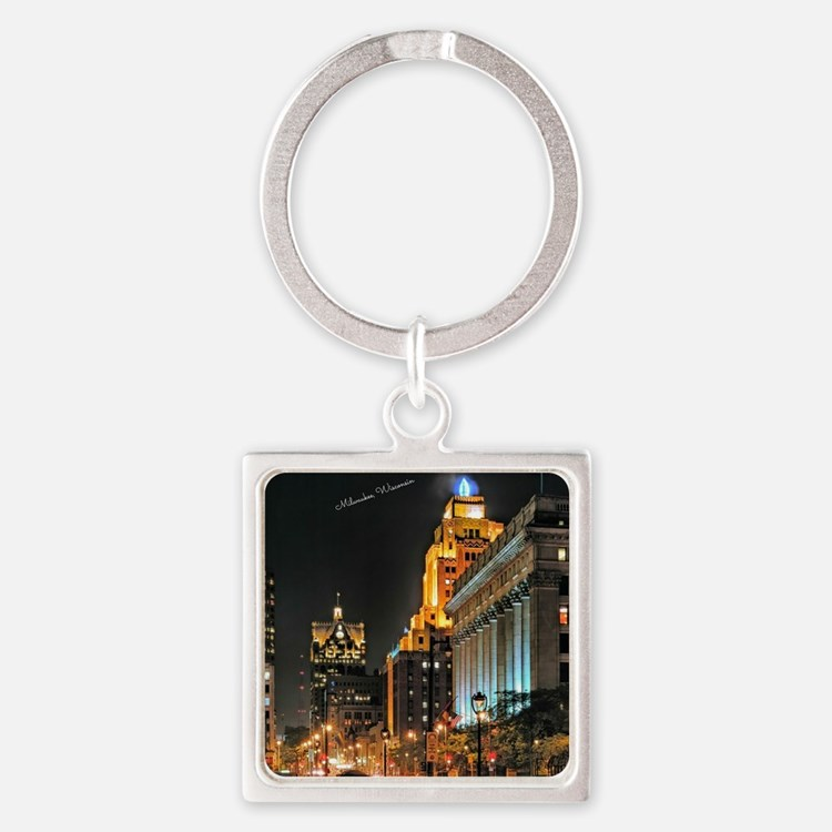 Milwaukee, Wisconsin Cityscape at  Square Keychain