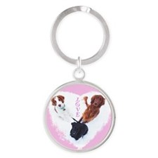 3 Dogs = Love (Pink Circle) Keychains