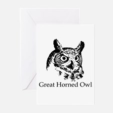 Great Horned Owl (line art) Greeting Cards