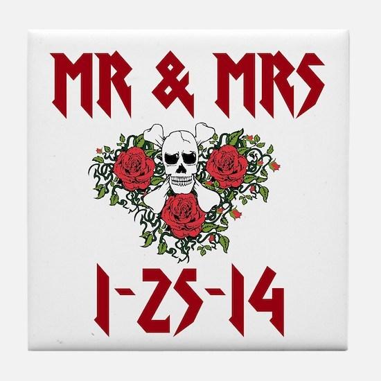 Mr. Mrs. Personalized Dates Tile Coaster