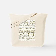 Christmas Typography Gold Tote Bag