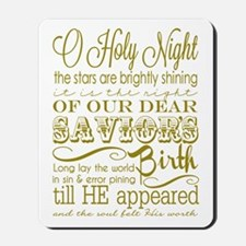 Christmas Typography Gold Mousepad