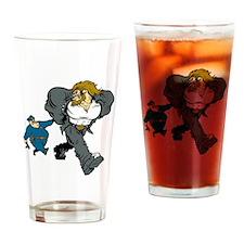 Police Arresting Criminal Cartoon Drinking Glass