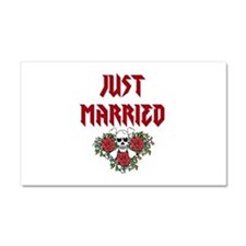 Just Married Skull Car Magnet 20 x 12