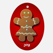 Cute Gingerbread Cookie Ornament (oval)