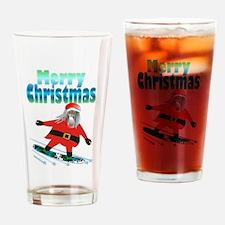 Snowboard Santa Drinking Glass