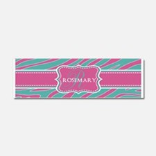Pink and Teal Animal Print Monogram Car Magnet 10