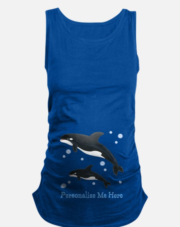 Personalized Killer Whale Maternity Tank Top