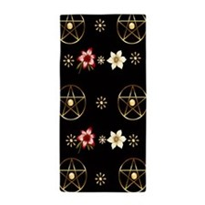 Pentagram and Flowers Beach Towel