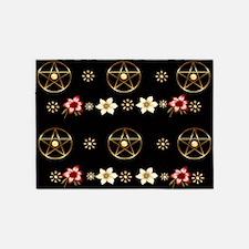 Pentagram and Flowers 5'x7'Area Rug