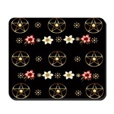 Pentagram and Flowers Mousepad