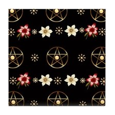 Pentagram and Flowers Tile Coaster