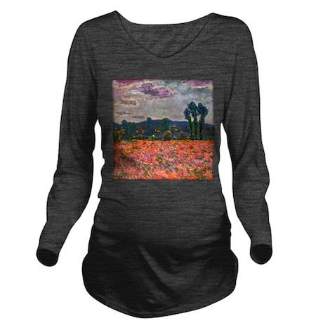 Monet - Poppy Field Long Sleeve Maternity T-Shirt