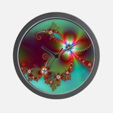 Fractal poppies floral3 Wall Clock