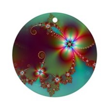 Fractal poppies floral3 Round Ornament