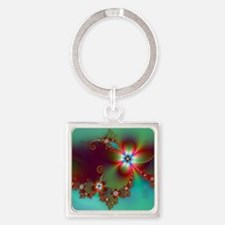 Fractal poppies floral3 Square Keychain