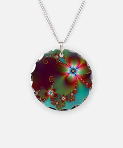 Fractal poppies floral3 Necklace
