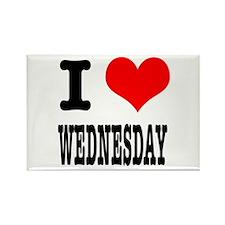 I Heart (Love) Wednesday Rectangle Magnet