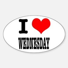 I Heart (Love) Wednesday Oval Decal