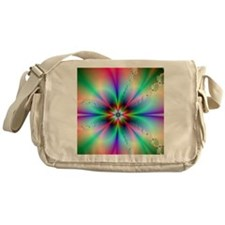 Fractal floral3 burst Messenger Bag