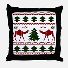Hump Day Inspired Camel Ugly Sweater Throw Pillow