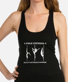 Pole Fitness Beauty Strength Pride White Racerback