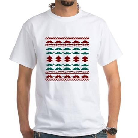 Holiday Mustache Ugly Sweater White T-Shirt