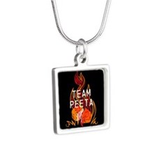 Team Peeta Baker Silver Square Necklace