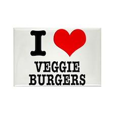 I Heart (Love) Veggie Burgers Rectangle Magnet