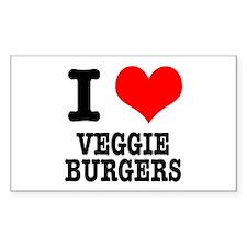 I Heart (Love) Veggie Burgers Sticker (Rectangular