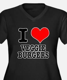 I Heart (Love) Veggie Burgers Women's Plus Size V-