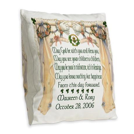 Wedding Sample (Blessing) Burlap Throw Pillow
