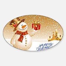 Merry Christmas Snowman Decal