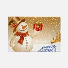 Merry Christmas Snowman Rectangle Magnet
