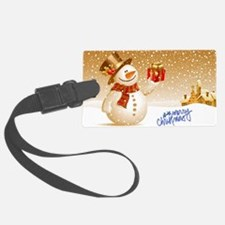 Merry Christmas Snowman Luggage Tag